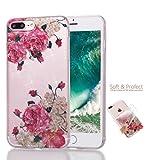 Cover iPhone 7 Plus iPhone 8 Plus silicone Frizzante Trasparente fiori bianchi TPU Bling Bling Sparkly Shiny super sottile morbido Gel Protettiva Conchiglia Custodia di Joytag