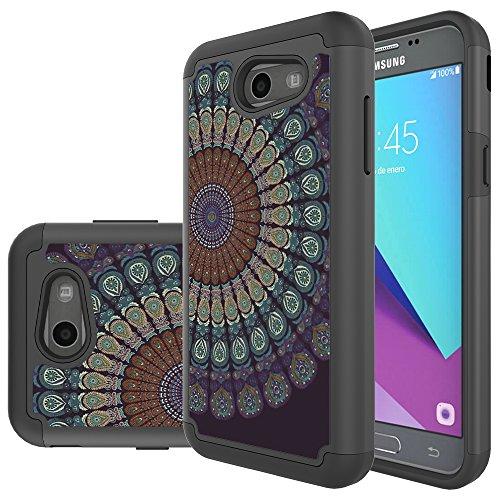 Samsung Galaxy J3Mission J3/Eclipse/J3Emerge J3/Prime/J3Luna Pro/Sol 2/AMP Prime 2/Express Prime 2Fall, MicroP Hybrid Dual Layer Silikon Hülle für J32017, Armor Black Mandala Flower Att Samsung Jack
