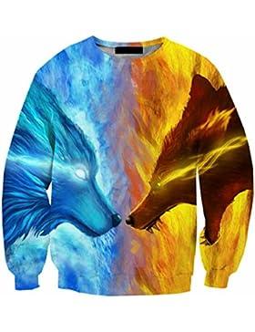 3D Sweartshirts uomini lupo del fuoco e del ghiaccio 3D Stampa Crewneck moda casual Harajuku Tops maglioni