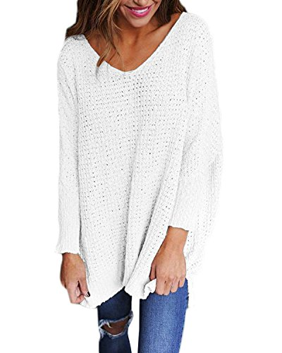 StyleDome Damen Jumper Shirt Medicate Herbst Langarm Plus Size Pullover Strick Sweater Sweatshirt Tops Weiß S