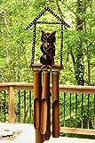 G6 Collection Handgefertigtes Holz Eule Bambus Windspiel Holz Statue Figur Hoot Skulptur Kunst Deko Rustikal Terrasse Garten Outdoor Deko Handarbeit Dekoration Owl House Chime