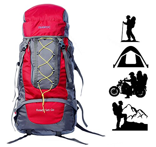 TRAWOC 60L Water Proof Travel Backpack for Outdoor Hiking Trekking - HK002 Red ( 1 Year Warranty )