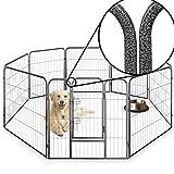 Resistente box per animali domestici, cucciolo di cane, recinzione pieghevole per uso interno ed esterno, inclusi 5tappetini igienici salva pipì GRATIS, 8lati di altezza 60cm, 80cm e 100cm