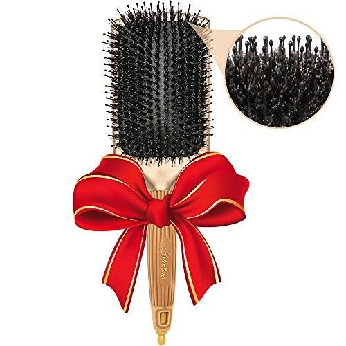 La brosse à cheveux premium en pure poils de sanglier naturelle + têtes de nylon - brosse, conditionne et démêle tous types de cheveux et de longueurs - le meilleur pour les cheveux épais, les cheveux mi-longs à longs, les styles lisses sur les Hommes ou les Femmes - Obtenez des cheveux sains, lisses, brillants