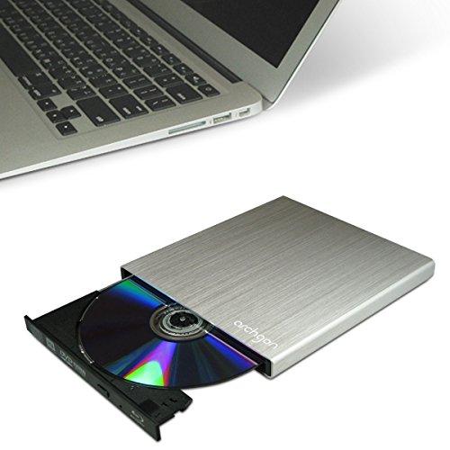 Archgon Star Argento Ultra Blu-Ray Masterizzatore DVD esterno Slim CD (Panasonic UJ-272) con USB 3.0 | alluminio spazzolato Caso | compatibile con PC e Mac | MacBook Pro | Aria | iMac in argento
