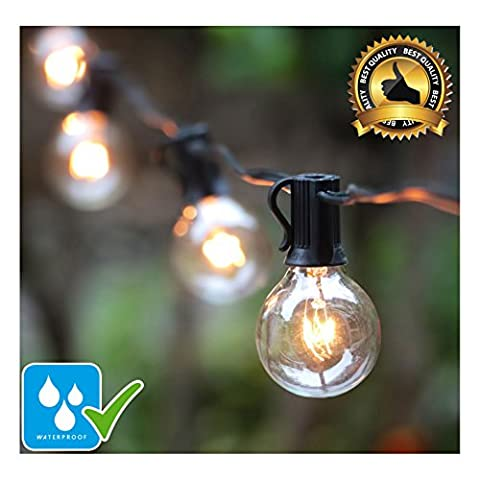 25Ft Waterproof String Lights with Clear G40 Globe Bulbs, Indoor/Outdoor Use, Weatherproof for Garden Decorations & Party, Holiday, Wedding, Patio, Porch, Party, Tents, Backyard, Gazebo, Market,