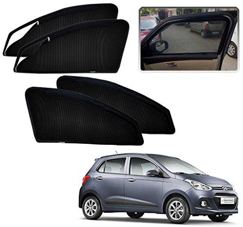 Kozdiko Zipper Magnetic Sun Shades Car Curtain for - Hyundai I10 Grand - Black - Set of 4Pcs.