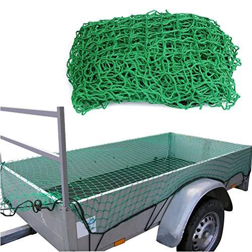 ATPWONZ Anhängernetz 2x3m Gepäcknetz dehnbar Sicherungsnetz, Containernetz zur Ladungssicherung - grün