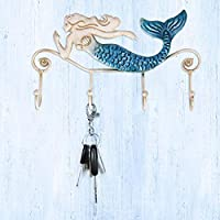 FJCY Practical Wall Mount Iron Mermaid Wall Hanger Iron Wall Hook 4 Hooks For Clothes Coats Towels Holder Screws Included