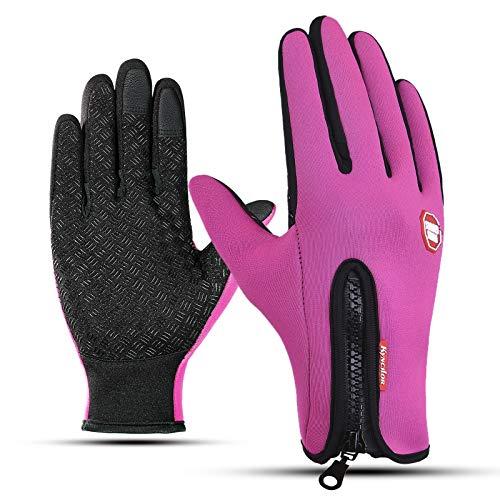 AmDxD Damen Winddicht Sporthandschuhe Fahrradhandschuhe Reithandschuhe Vlies Skihandschuhe Rose Handschuhe Größe Klein
