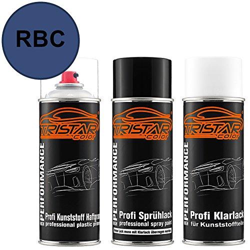 TRISTARcolor Autolack Spraydosen Set für Kunststoff Stoßstange für Datsun/Infiniti/Nissan RBC Blue Metallic Haftgrund Basislack Klarlack mit Weichmacher Sprühdose