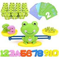 GILOBABY Balance Math Game Toys for Kid Toddler, STEM Educational Learning Toy 18 Month+, Teaching&Student Counting Game Gift Toy 3 Year old+ Boy Girl, Toy Children Mathematics Toy, Frog&Card&Number