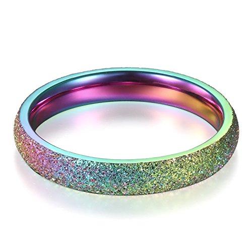 JewelryWe Schmuck Regenbogen Ring sandgestrahlt 3mm breit Damenring Verlobungsring Freundschaftsring Herrenring Partnerring Edelstahl 54