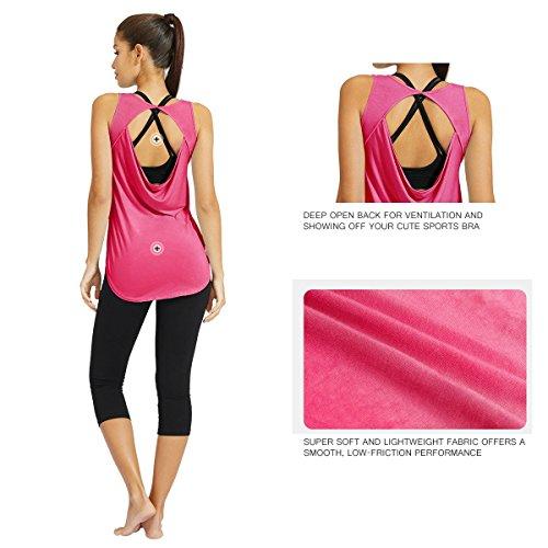 Baleaf Damen Soft Ultraleicht Rückenfreie Backless Yoga Shirts Tops Tee Workout Ärmellos Rosa