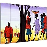 """Bilderdepot24 Cuadros en Lienzo """"Diseño de África II"""" 180x120 cm 4 piezas - listo tensa, directamente desde el fabricante"""