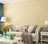 Poowef Wallpaper Im Europäischen Stil Blümchen Warmen Schlafzimmer Tapete Wohnzimmer Tv Hintergrundbild Einfache Moderne Non-Woven Tapeten, 0,53 X 10 M, Gelb
