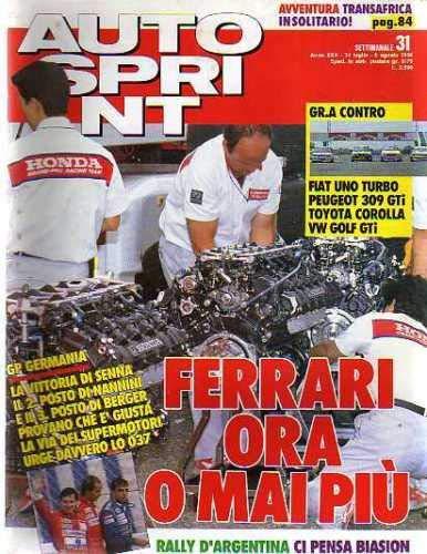 Autosprint Auto Sprint 31 Luglio Agosto 1990 Senna Nannini Berger
