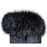 Jeracol Pelzkragen Kunstpelz Pelzschal Waschbär Fellkragen Kapuzen Winter Schal für WinterMantel Jacke(schwarz,75 * 15 cm)