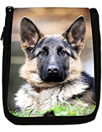 German Shepherd Dog Medium Black Canvas Shoulder Bag - Size Medium