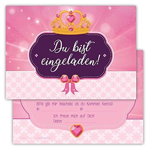 12 Einladungskarten Prinzessin rosa Set Kindergeburtstag Party Mädchen Kinder Krone Geburtstagseinladungen Karten Fee pink (Kostüm-party-einladung Für Kinder)