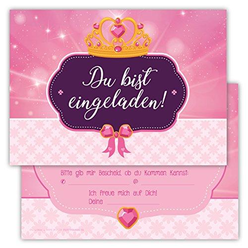 12 Einladungskarten Prinzessin rosa Set Kindergeburtstag Party Mädchen Kinder Krone Geburtstagseinladungen Karten Fee pink (Barbie Kostüme Sexy)