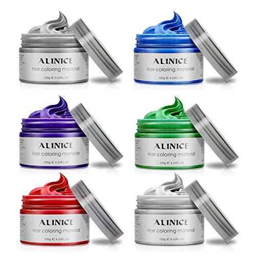 ALINICE 6 Farben Unisex Multi-Color Temporäre Modellierung Mode DIY Haarfarbe Wachs Schlamm ()
