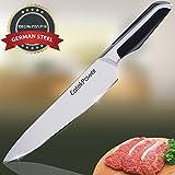 Couteau de cuisine,EatekPower professionnelle 20 cm Couteau de cuisine,EatekPower couteau à légumes, couteau de chef, couteau, pommes de terre à éplucher Couteau en acier carbone inoxydable bord avec lame de précision et avec poignée ergonomique Couteau à tout faire marron