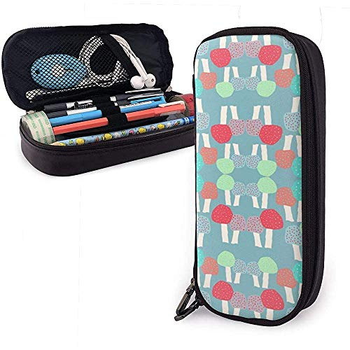 Champignons Cute Pu Leder Federmäppchen 20X9X4cm Doppelreißverschlüsse Bleistift Tasche für Schulbüro Mädchen Jungen Erwachsene
