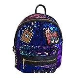 DOGZI Damen Ledertasche Kleine, Handtasche Tasche Ngetasche Strandtasche Schulter Taschehandtasche Farbe Pailletten Rucksack Persönlichkeit Abzeichen Casual Reisetasche (Blau)