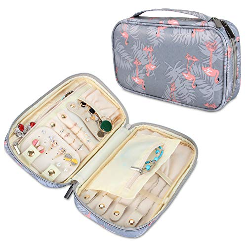 Teamoy Schmuckaufbewahrung Reise, Schmucktasche für Ringe, Ohrringe, ketten, armreifen, halsketten und mehr, viele verschiedene Abteilung, Flamingo