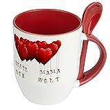 Namenstasse Beste Mama der Welt - Löffel-Tasse mit Namens-Motiv Herzballons - Muttertag Geschenkidee, Becher Kaffeetasse, Kaffeebecher, Mug - Rot