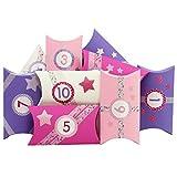 Papierdrachen 24 Adventskalender Pillowboxen - mit pinkem Einhorn Washitape und bunten Zahlenaufklebern - 24 Kissenschachteln - zum individuellen Befüllen und Gestalten