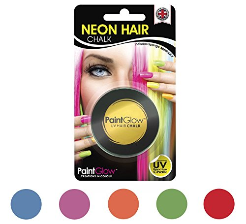 Smiffy's 46090 - UV-Haar-Kreide mit Schwamm-Haar-Applikator Blisterpackung, 3.5 g