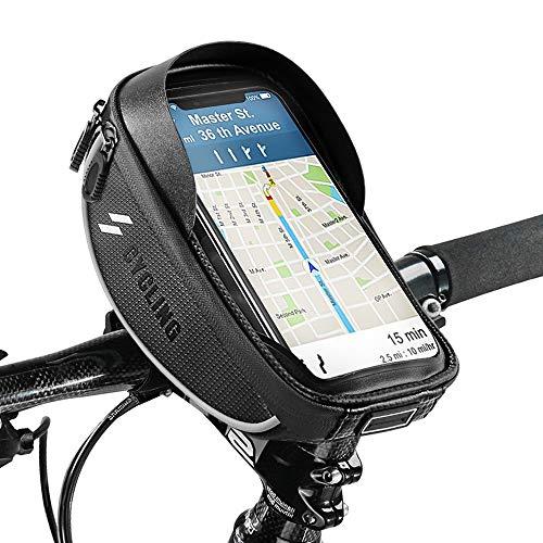 Fahrrad Rahmentasche, omitium fahrrad lenkertasche Touchschirm Fahrradtasche mit Kopfhörerloch Wasserdichter Oberrohrtasche Fahrrad Handyhalterung für GPS Navi und andere Edge bis zu 6,0 Zoll Handys