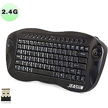 jeasun Mini clavier 2.4G Télécommande sans fil avec trackball, ordinateur Télécommande–Noir