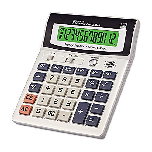 ZUZU Standardfunktion Tischrechner LED-Nachtlichtanzeige 12-stelliger Taschenrechner mit UV-Banknotenprüfer für Office Cashier Finance