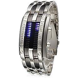 Lightinthebox® Luxury Men's Watch Blue LED Digital Display Steel Band, Quartz Sports Wristwatch,Calendar, LED, Movement Watch