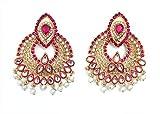 Indische Bollywood Hochzeit Party Wear Perlen baumelnd & Drop Mode Ohrringe Traditionelle Jhumka Jhumki Ohrringe für Damen und Mädchen 08 rose