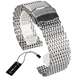 YYISUYA Silver 22mm Band Stainless Steel Milanese Shark Mesh Watch Band Strap Bracelet