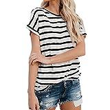 tefamore Femmes Manches Courtes Fashion Tops Block Stripe T-Shirt Casual Blouse (XL, Noir)