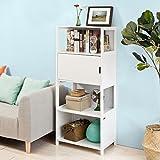 SoBuy® FRG190-W Bücherregal Standregal Aufbewahrungsregal Badregal mit 3 Ablagen und einer Tür in weiß BHT ca: 60x145x38cm