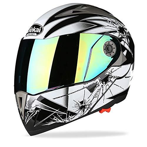 Casco Integrale Moto Casco MX Motocross Casco modulare Aperto Scuola Old School D.O.T Casco Moto Doppio omologato Double Visor,White,XL