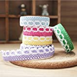 CraftDev Set of 6 Colorful Adhesive Cloth Lace Tape Rolls for Arts, Crafts and other Creative Projects (Assorted Colors)