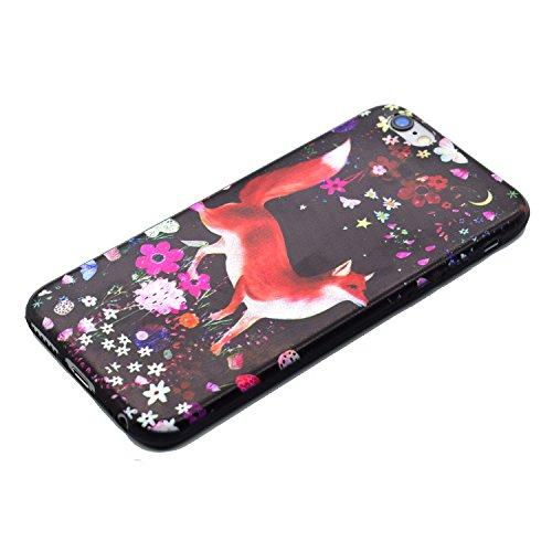 Cozy Hut Handy-Hülle für Apple iPhone 6S / 6 (4,7 Zoll) weiß / Rein schwarz | Ultra Slim Cover für Apple iPhone 6S / 6 (4,7 Zoll) Schutz Hülle TPU Case Schutzhülle Silikon Smartphone Case Tasche Dünn  Blumen Fuchs