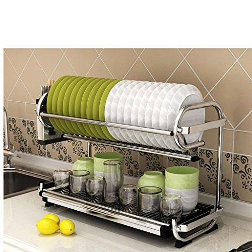 &étagère de rangement Étagère de cuisine en acier inoxydable étagère de cuisine à double tiroir plateaux de vaisselle plaque suspendue de mur vaisselle frame mettre des baguettes baguette de rangement