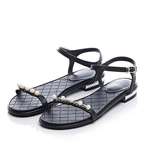 balamasa Mesdames clouté strass Talon low-heels Matière souple Sandales Noir