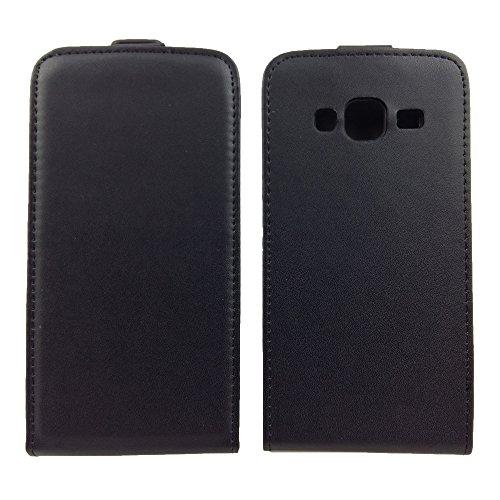 handy-point Flexi Flip Case Klapptasche Klapphülle Tasche Hülle Schale Schutzhülle Schutztasche Flipcase mit flexibler Gummischale mit Fach für EC-Karte Kartenfach für Samsung Galaxy Grand On, On5 (G550), Schwarz
