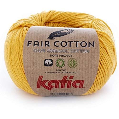 Katia fair cotton fb. 20amarillo, cotton yarn, organic cotton for knitting and crocheting