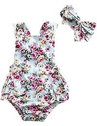Covermason Bebé Niñas Floral Impresión Monos Linda Bodies Mameluco y Diademas (1 Conjuntos)