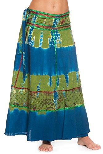 Wickelrock Goa Batik - Bunter Maxi Rock lang aus Indien, 92 cm lang, mit Bändern - von Ufash, Grün-Blau (Blau Tie-dye Grün)